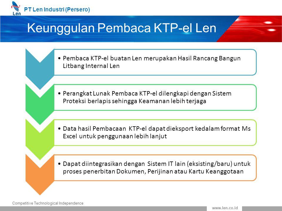 PT Len Industri (Persero) Competitive Technological Independence www.len.co.id Keunggulan Pembaca KTP-el Len Pembaca KTP-el buatan Len merupakan Hasil
