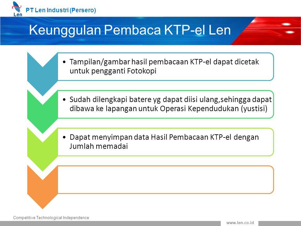 PT Len Industri (Persero) Competitive Technological Independence www.len.co.id Keunggulan Pembaca KTP-el Len Tampilan/gambar hasil pembacaan KTP-el da