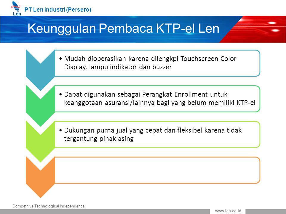 PT Len Industri (Persero) Competitive Technological Independence www.len.co.id Keunggulan Pembaca KTP-el Len Mudah dioperasikan karena dilengkpi Touch