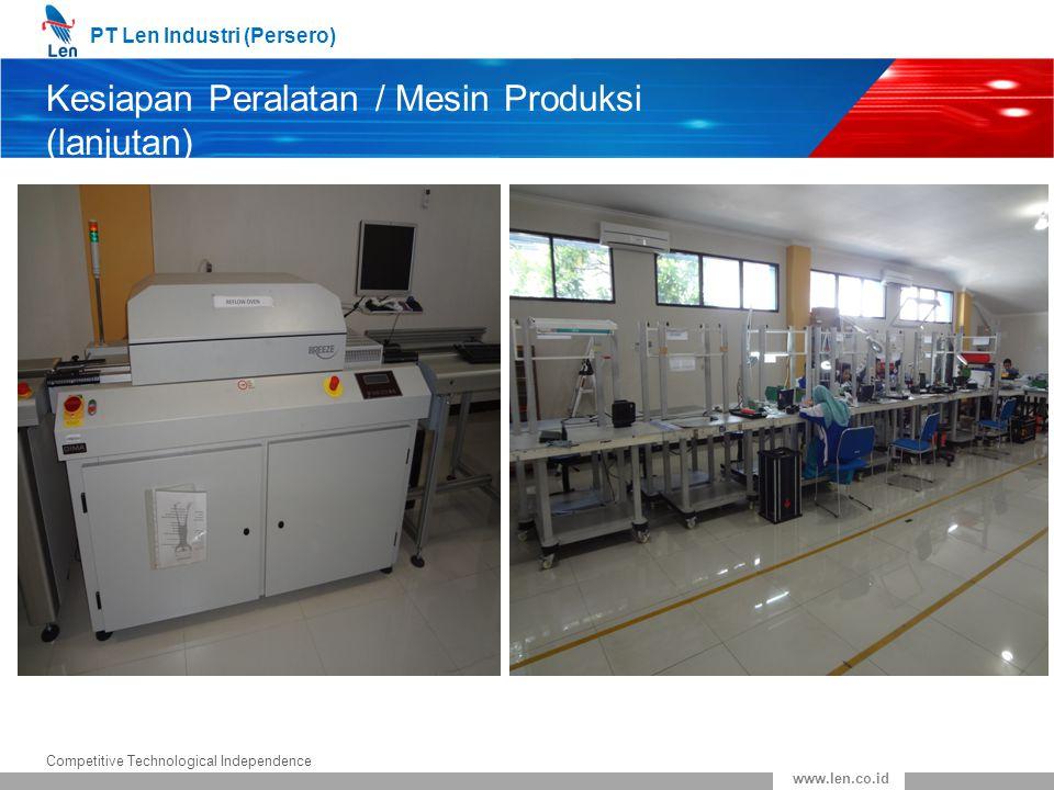 PT Len Industri (Persero) Competitive Technological Independence www.len.co.id Kesiapan Peralatan / Mesin Produksi (lanjutan)