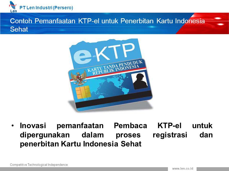 PT Len Industri (Persero) Competitive Technological Independence www.len.co.id Contoh Pemanfaatan KTP-el untuk Penerbitan Kartu Indonesia Sehat Inovas