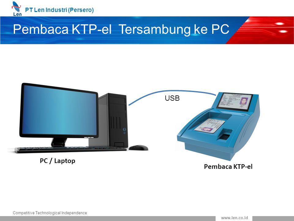 PT Len Industri (Persero) Competitive Technological Independence www.len.co.id Pembaca KTP-el Tersambung ke PC PC / Laptop Pembaca KTP-el USB