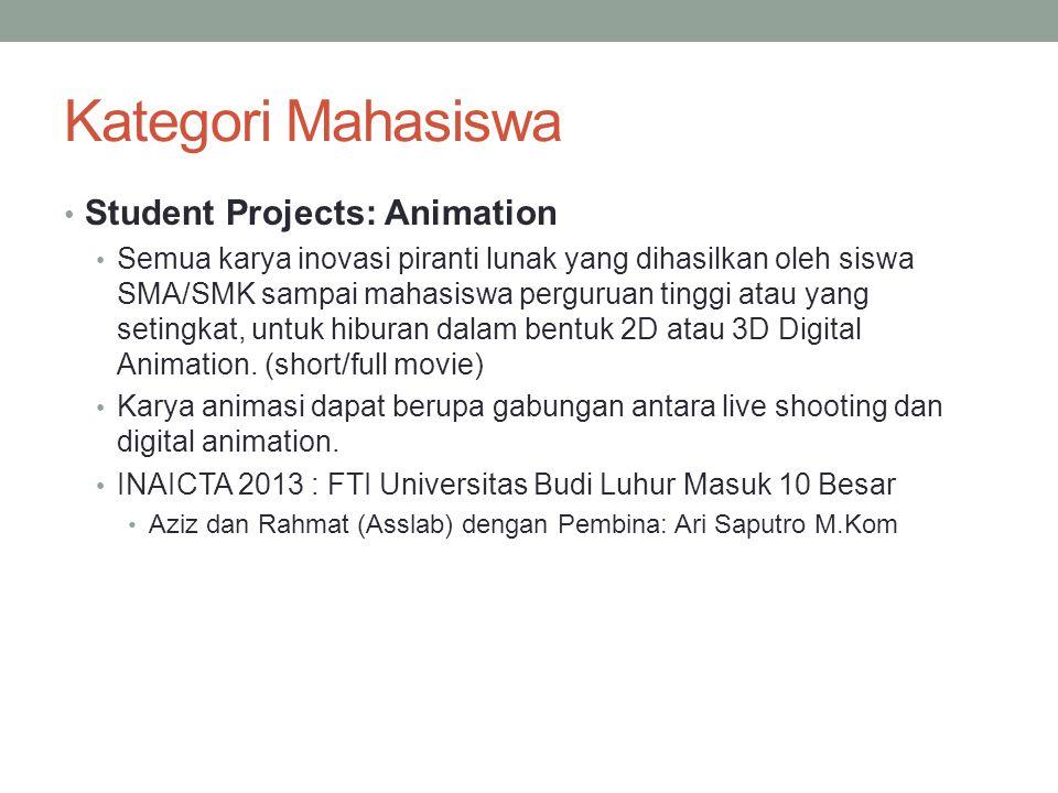 Kategori Mahasiswa Student Projects: Animation Semua karya inovasi piranti lunak yang dihasilkan oleh siswa SMA/SMK sampai mahasiswa perguruan tinggi