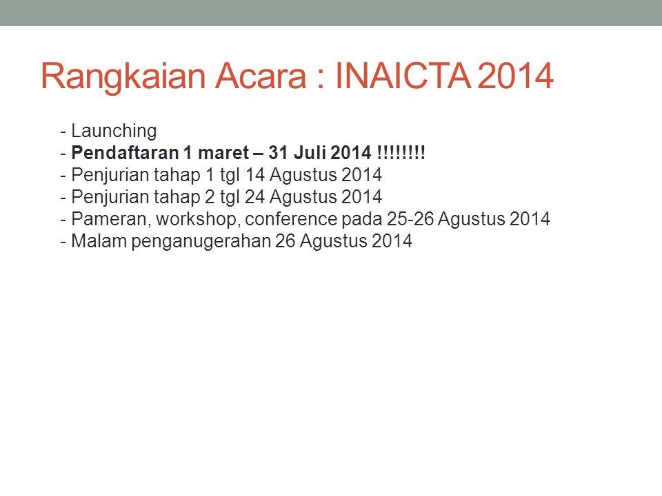 Rangkaian Acara : INAICTA 2014 - Launching - Pendaftaran 1 maret – 31 Juli 2014 !!!!!!!! - Penjurian tahap 1 tgl 14 Agustus 2014 - Penjurian tahap 2 t