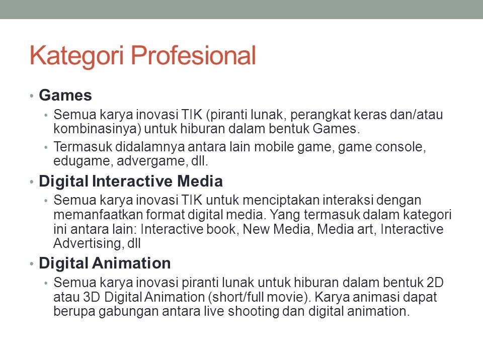Kategori Profesional Games Semua karya inovasi TIK (piranti lunak, perangkat keras dan/atau kombinasinya) untuk hiburan dalam bentuk Games. Termasuk d