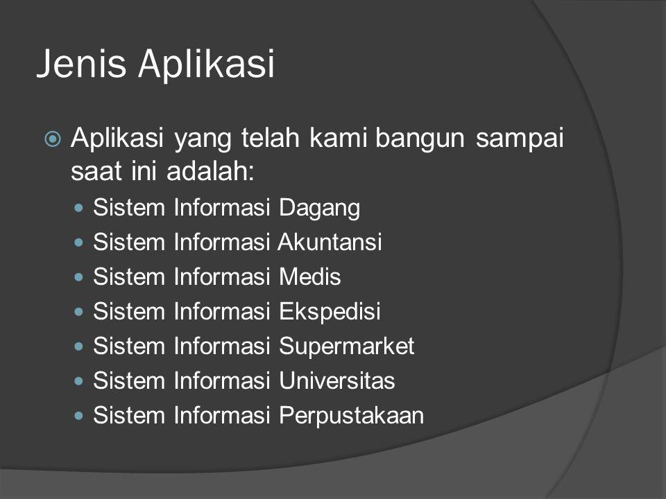 Jenis Aplikasi  Aplikasi yang telah kami bangun sampai saat ini adalah: Sistem Informasi Dagang Sistem Informasi Akuntansi Sistem Informasi Medis Sistem Informasi Ekspedisi Sistem Informasi Supermarket Sistem Informasi Universitas Sistem Informasi Perpustakaan