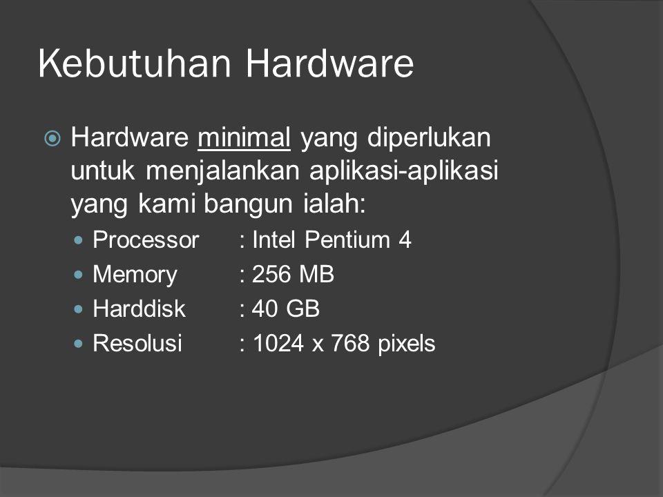 Kebutuhan Hardware  Hardware minimal yang diperlukan untuk menjalankan aplikasi-aplikasi yang kami bangun ialah: Processor: Intel Pentium 4 Memory: 256 MB Harddisk: 40 GB Resolusi: 1024 x 768 pixels