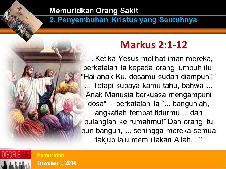 """""""... Ketika Yesus melihat iman mereka, berkatalah Ia kepada orang lumpuh itu:"""