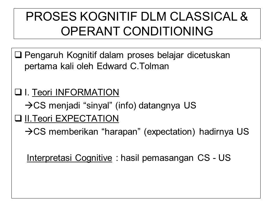 PROSES KOGNITIF DLM CLASSICAL & OPERANT CONDITIONING  Pengaruh Kognitif dalam proses belajar dicetuskan pertama kali oleh Edward C.Tolman  I.
