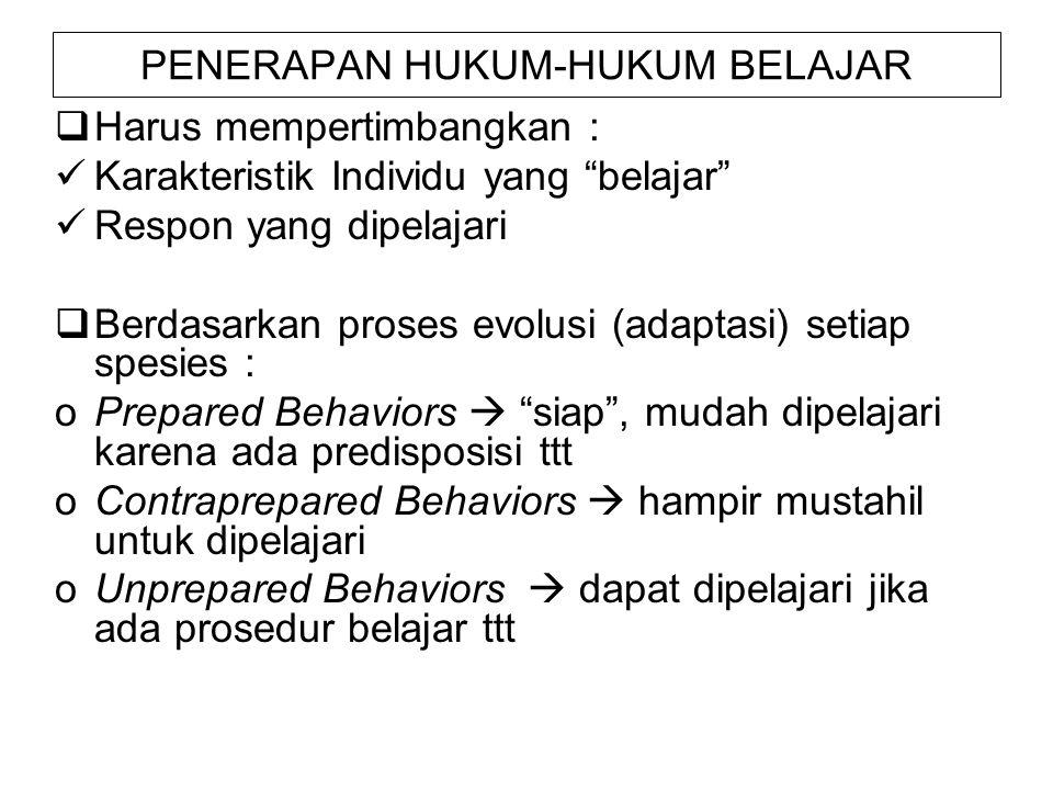 PENERAPAN HUKUM-HUKUM BELAJAR  Harus mempertimbangkan : Karakteristik Individu yang belajar Respon yang dipelajari  Berdasarkan proses evolusi (adaptasi) setiap spesies : oPrepared Behaviors  siap , mudah dipelajari karena ada predisposisi ttt oContraprepared Behaviors  hampir mustahil untuk dipelajari oUnprepared Behaviors  dapat dipelajari jika ada prosedur belajar ttt