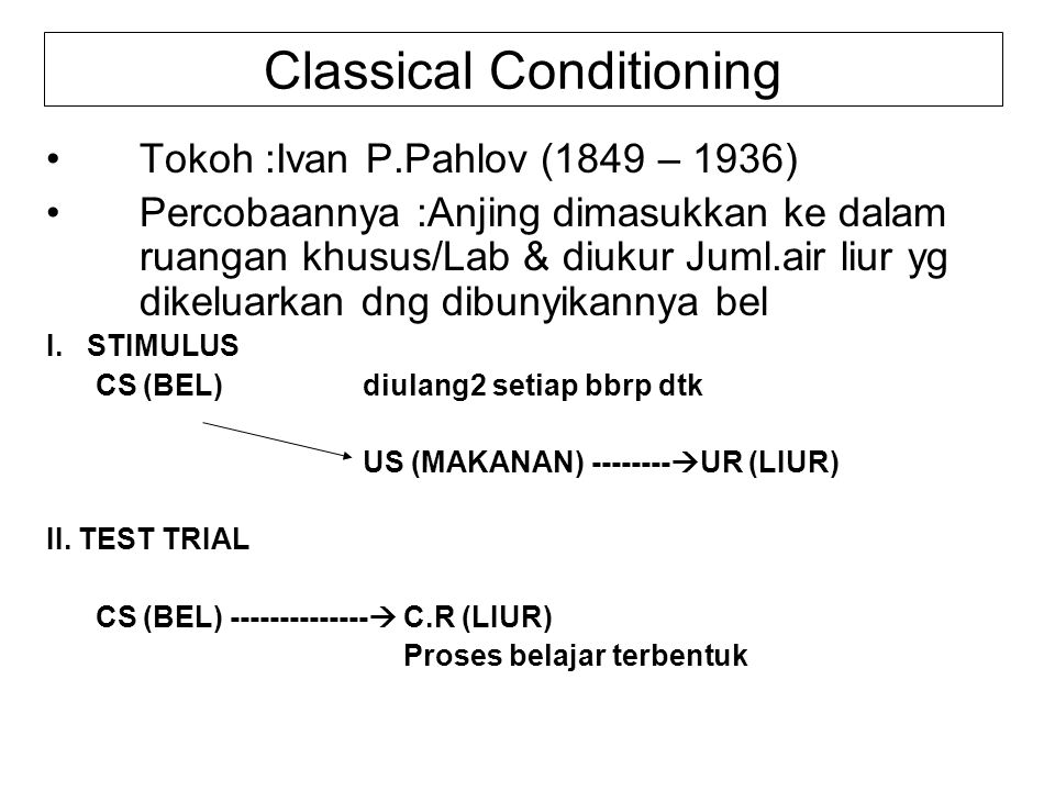Classical Conditioning Tokoh :Ivan P.Pahlov (1849 – 1936) Percobaannya :Anjing dimasukkan ke dalam ruangan khusus/Lab & diukur Juml.air liur yg dikeluarkan dng dibunyikannya bel I.