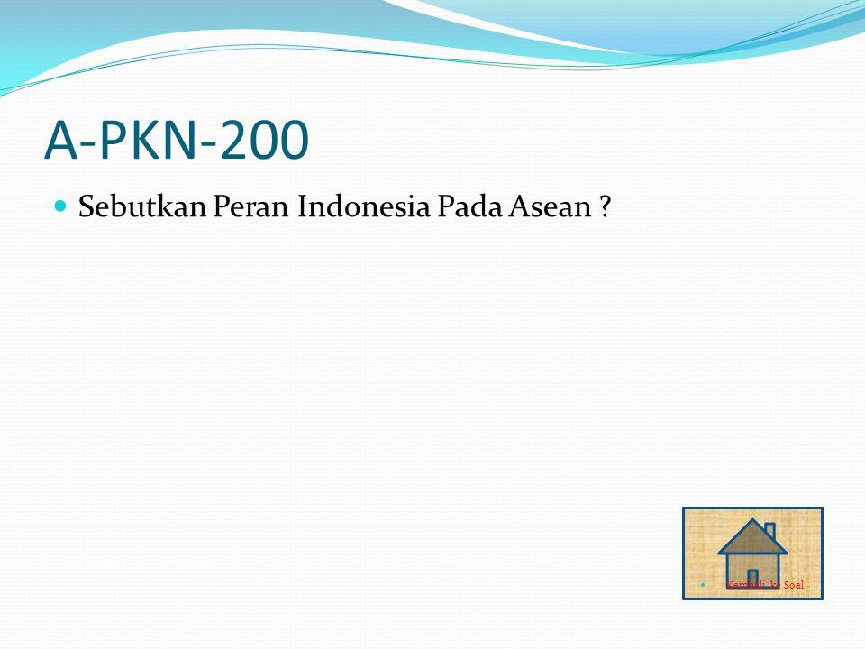 A-PKN-200 Sebutkan Peran Indonesia Pada Asean ? Kembali ke Soal