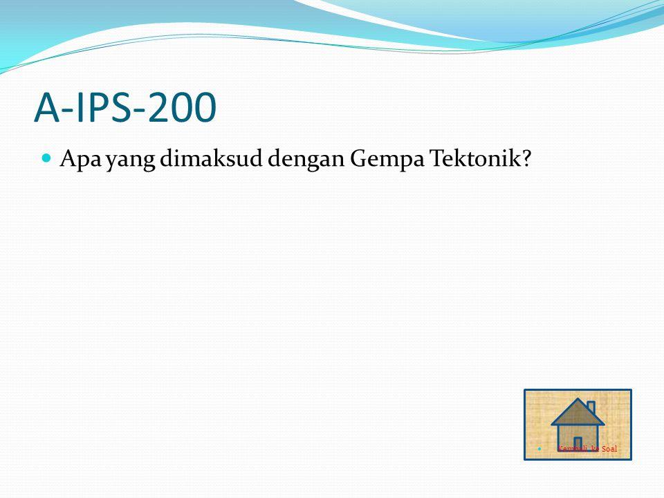 A-IPS-200 Apa yang dimaksud dengan Gempa Tektonik? Kembali ke Soal
