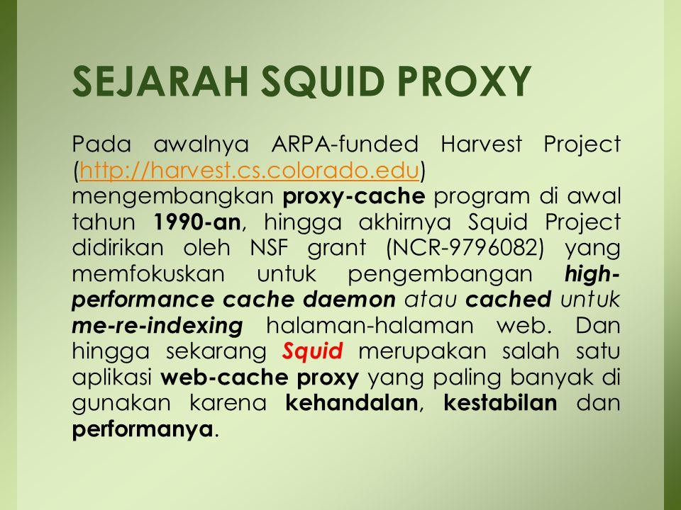 Squid proxy server dalam suatu jaringan memiliki tiga fungsi utama yaitu sebagai : 1.Connection Sharing  Gateway 2.Filtering dan  Pengamanan/Pembatasan 3.Caching  Mempercepat Akses (Efisien Bandwidth) Tiga Fungsi Utama Proxy :