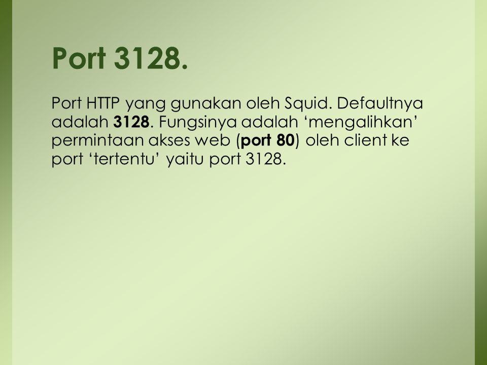 Port HTTP yang gunakan oleh Squid. Defaultnya adalah 3128. Fungsinya adalah 'mengalihkan' permintaan akses web ( port 80 ) oleh client ke port 'terten