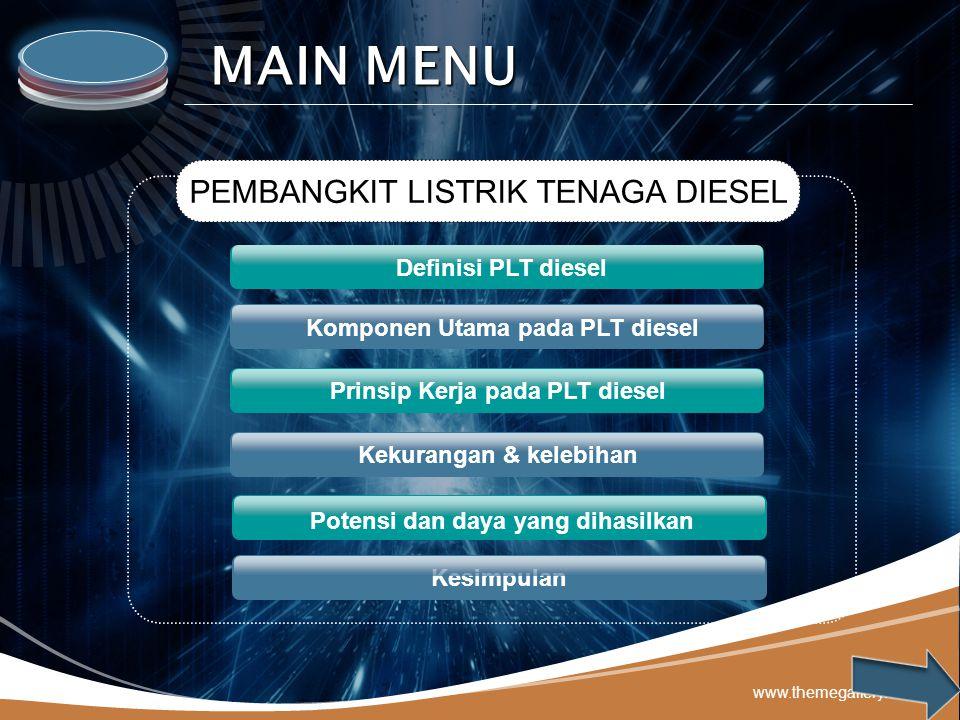 LOGO www.themegallery.com Komponen Utama pada PLT diesel Prinsip Kerja pada PLT diesel Kekurangan & kelebihan Potensi dan daya yang dihasilkan PEMBANG