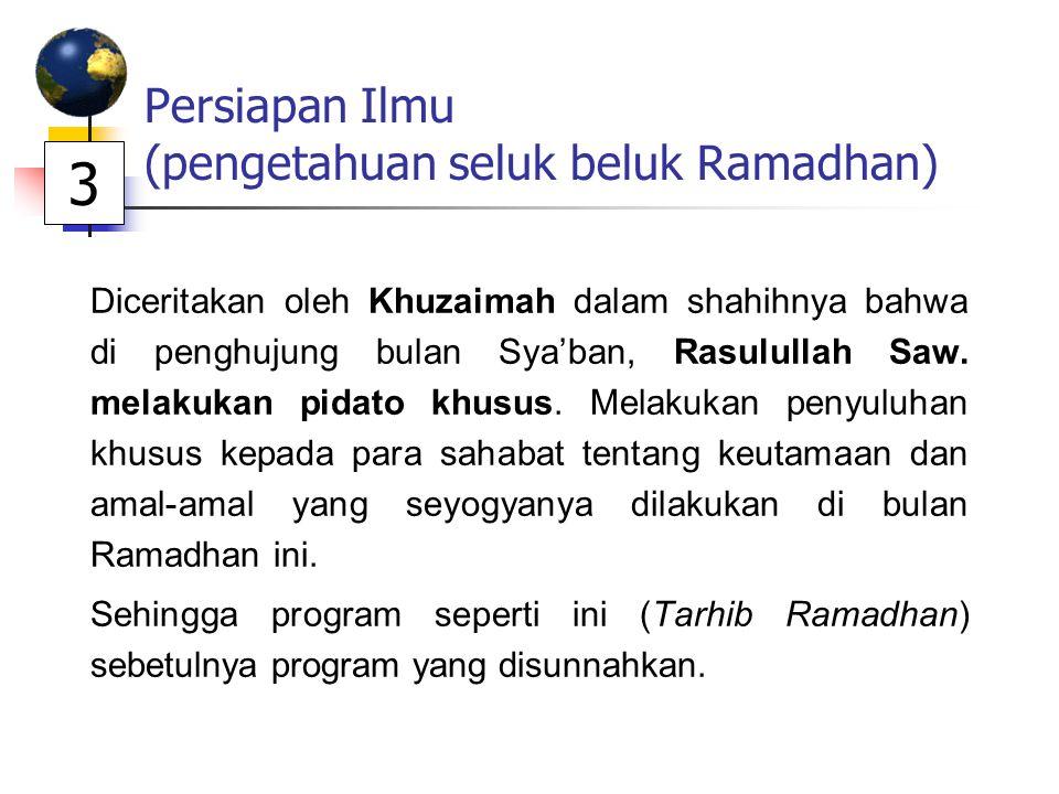 Persiapan Ilmu (pengetahuan seluk beluk Ramadhan) Diceritakan oleh Khuzaimah dalam shahihnya bahwa di penghujung bulan Sya'ban, Rasulullah Saw. melaku