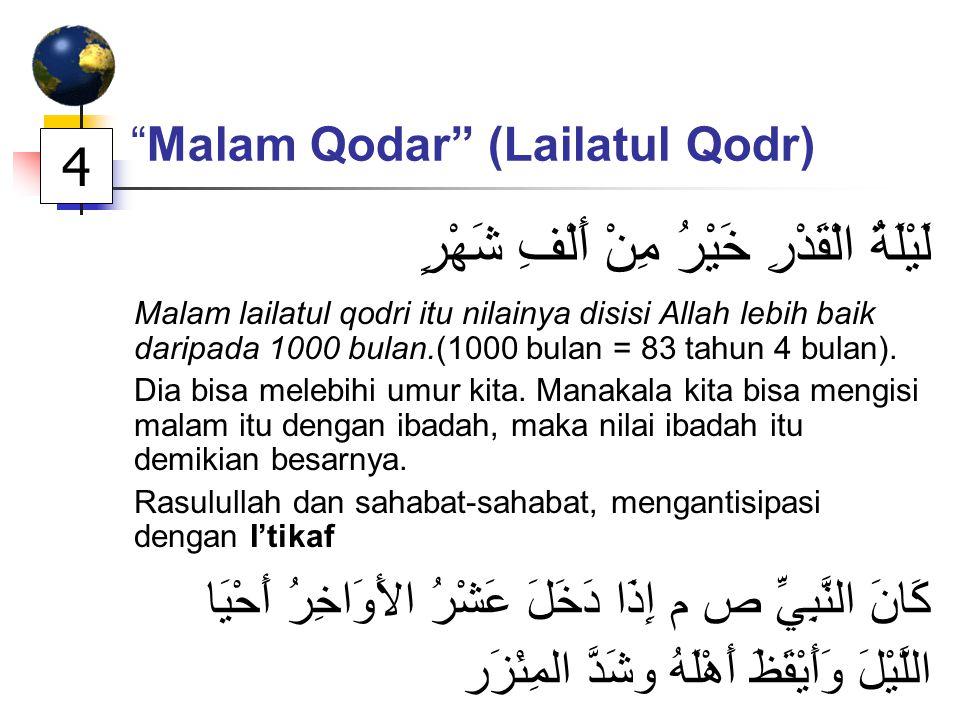 Malam Qodar (Lailatul Qodr) لَيْلَةُ الْقَدْرِ خَيْرُ مِنْ أَلْفِ شَهْرٍ Malam lailatul qodri itu nilainya disisi Allah lebih baik daripada 1000 bulan.(1000 bulan = 83 tahun 4 bulan).