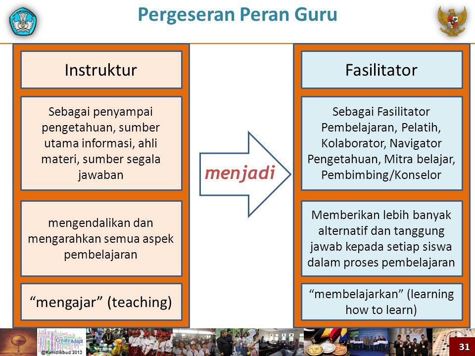 Pergeseran Peran Guru Sebagai penyampai pengetahuan, sumber utama informasi, ahli materi, sumber segala jawaban Sebagai Fasilitator Pembelajaran, Pela