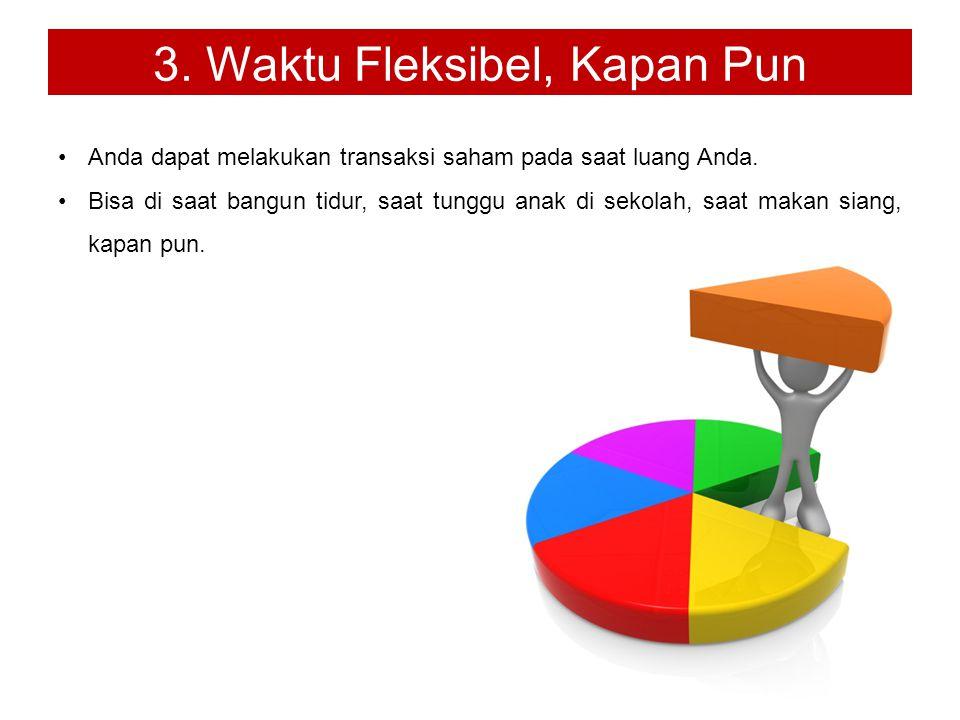3. Waktu Fleksibel, Kapan Pun Anda dapat melakukan transaksi saham pada saat luang Anda.