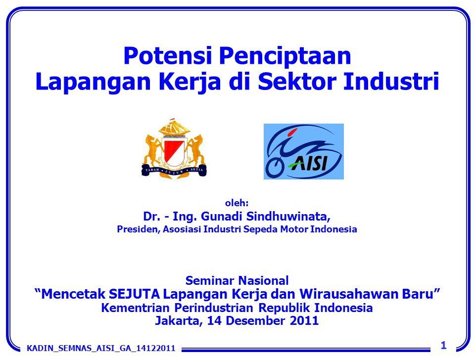 Potensi Penciptaan Lapangan Kerja di Sektor Industri oleh: Dr. - Ing. Gunadi Sindhuwinata, Presiden, Asosiasi Industri Sepeda Motor Indonesia Seminar