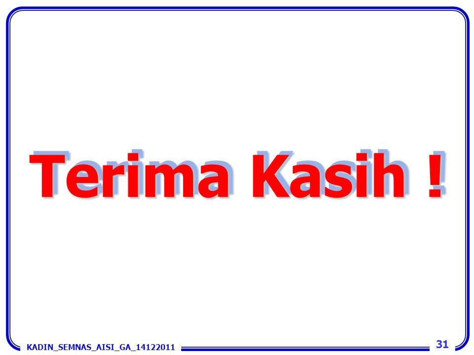 Terima Kasih ! 31 KADIN_SEMNAS_AISI_GA_14122011