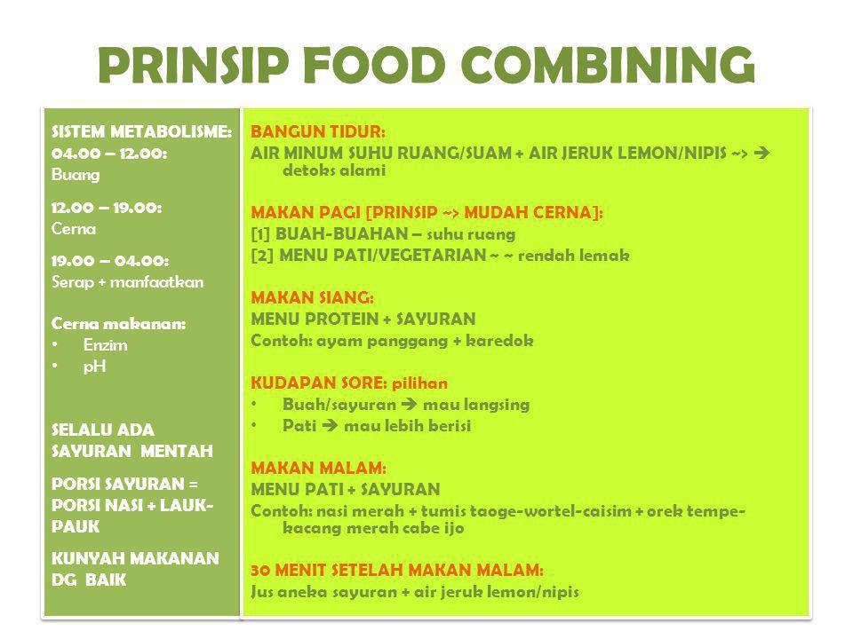 PRINSIP FOOD COMBINING SISTEM METABOLISME: 04.00 – 12.00: Buang 12.00 – 19.00: Cerna 19.00 – 04.00: Serap + manfaatkan Cerna makanan: Enzim pH SELALU