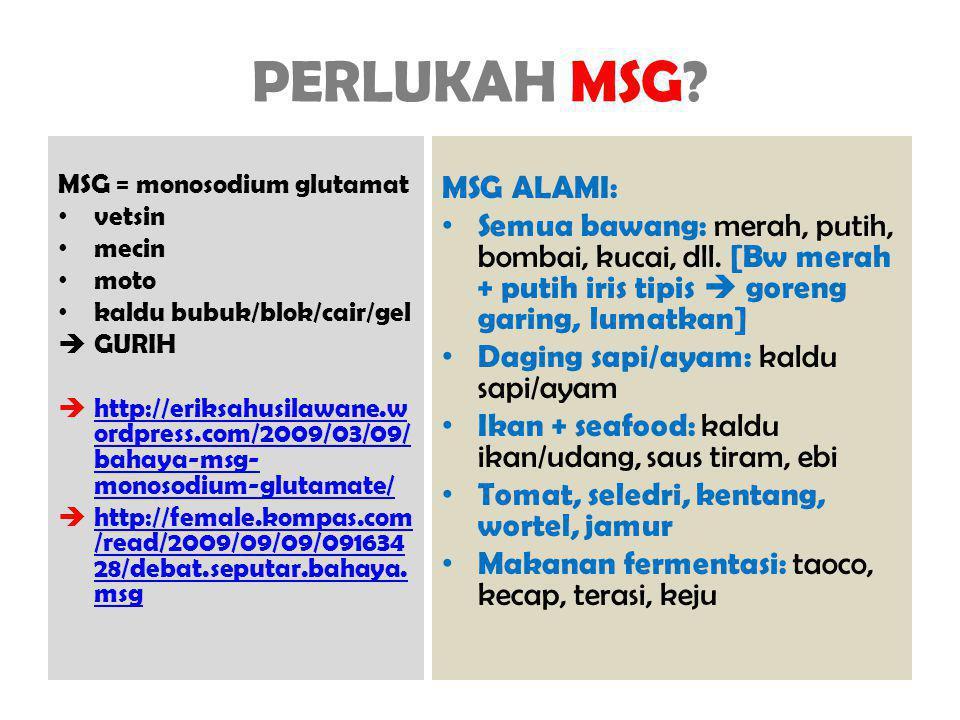 PERLUKAH MSG? MSG = monosodium glutamat vetsin mecin moto kaldu bubuk/blok/cair/gel  GURIH  http://eriksahusilawane.w ordpress.com/2009/03/09/ bahay