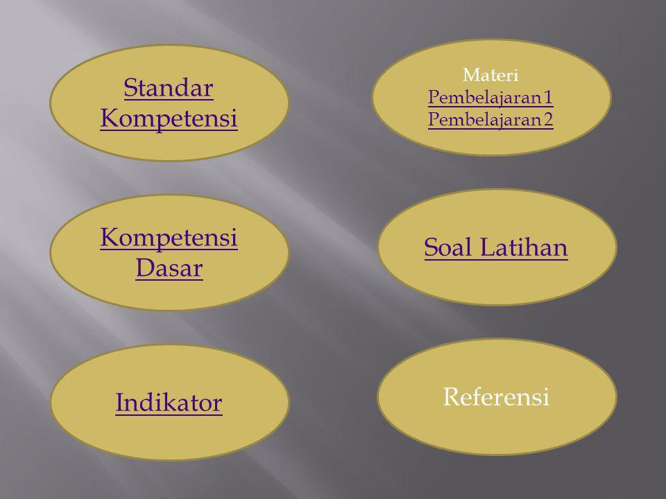 Kompetensi Dasar Indikator Standar Kompetensi Soal Latihan Materi Pembelajaran 1 Pembelajaran 1 Pembelajaran 2 Referensi