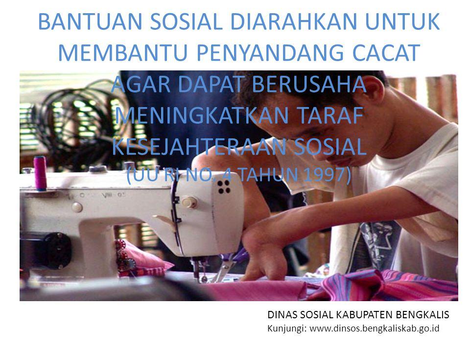 BANTUAN SOSIAL DIARAHKAN UNTUK MEMBANTU PENYANDANG CACAT AGAR DAPAT BERUSAHA MENINGKATKAN TARAF KESEJAHTERAAN SOSIAL (UU RI NO.