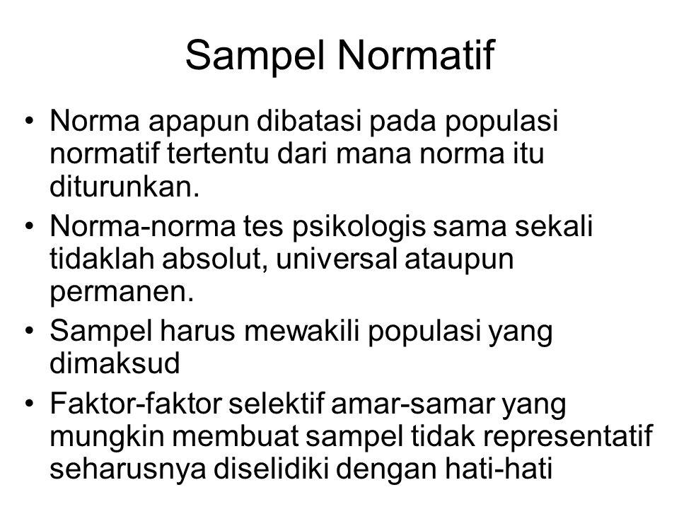 Sampel Normatif Norma apapun dibatasi pada populasi normatif tertentu dari mana norma itu diturunkan.