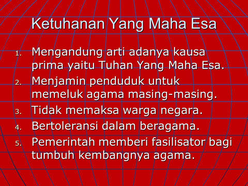 SILA PANCASILA 1. 1. KETUHANAN KETUHANAN YANG MAHA ESA 2. 2. KEMANUSIAAN YANG ADIL DAN BERADAB 3. 3. PERSATUAN PERSATUAN INDONESIA 4. 4. KERAKYATAN KE