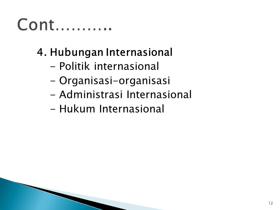 4. Hubungan Internasional - Politik internasional - Organisasi-organisasi - Administrasi Internasional - Hukum Internasional 12