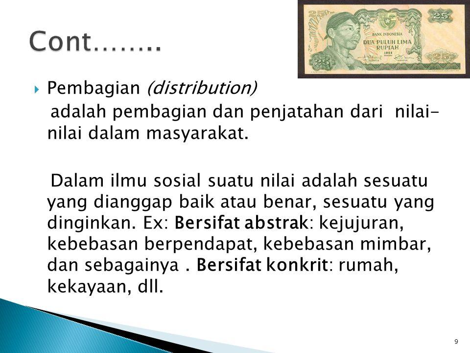  Pembagian (distribution) adalah pembagian dan penjatahan dari nilai- nilai dalam masyarakat.