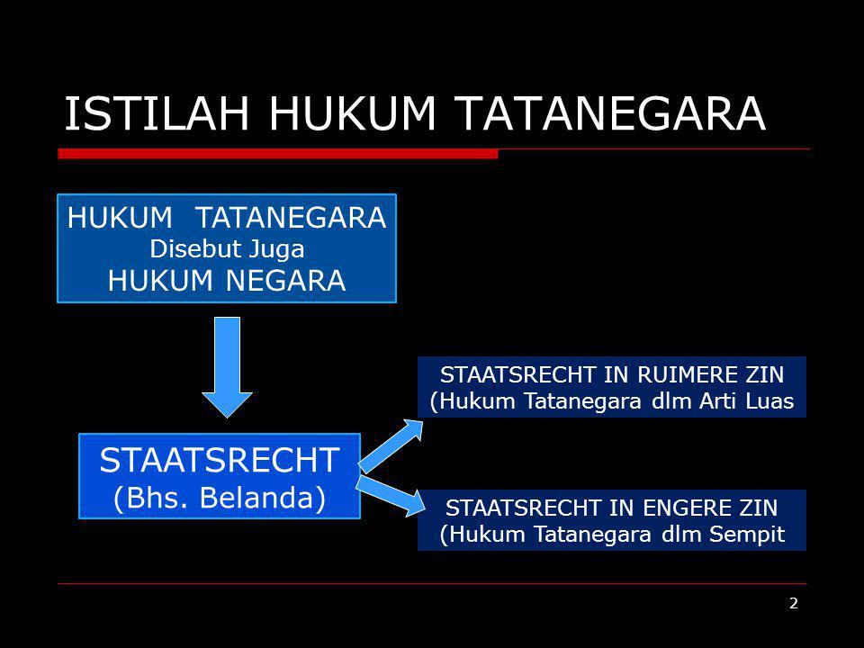 ISTILAH HUKUM TATANEGARA HUKUM TATANEGARA Disebut Juga HUKUM NEGARA STAATSRECHT (Bhs. Belanda) STAATSRECHT IN RUIMERE ZIN (Hukum Tatanegara dlm Arti L