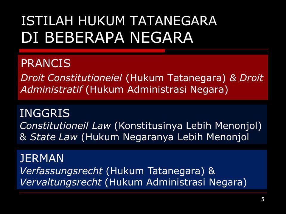 ISTILAH HUKUM TATANEGARA DI BEBERAPA NEGARA PRANCIS Droit Constitutioneiel (Hukum Tatanegara) & Droit Administratif (Hukum Administrasi Negara) INGGRI