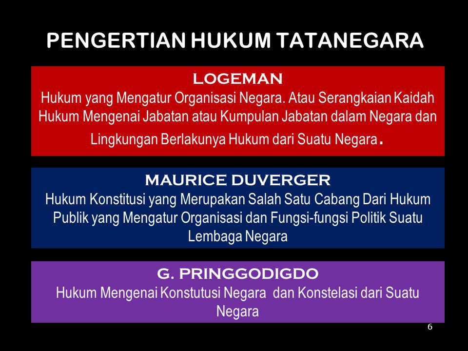 PENGERTIAN HUKUM TATANEGARA LOGEMAN Hukum yang Mengatur Organisasi Negara. Atau Serangkaian Kaidah Hukum Mengenai Jabatan atau Kumpulan Jabatan dalam