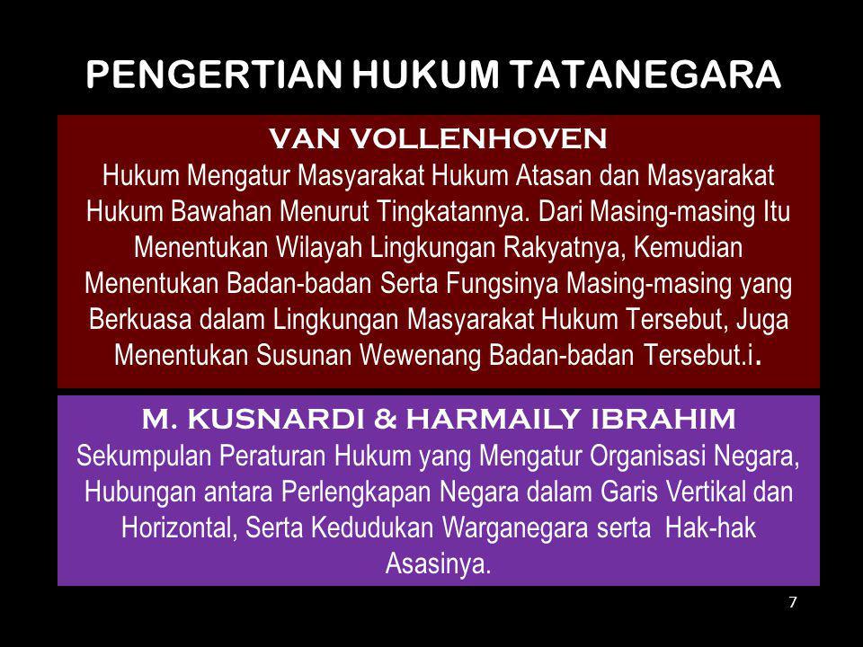 PENGERTIAN HUKUM TATANEGARA VAN VOLLENHOVEN Hukum Mengatur Masyarakat Hukum Atasan dan Masyarakat Hukum Bawahan Menurut Tingkatannya. Dari Masing-masi