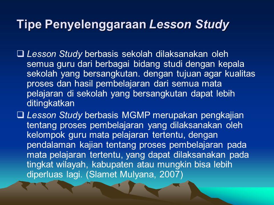 Tipe Penyelenggaraan Lesson Study  Lesson Study berbasis sekolah dilaksanakan oleh semua guru dari berbagai bidang studi dengan kepala sekolah yang bersangkutan.