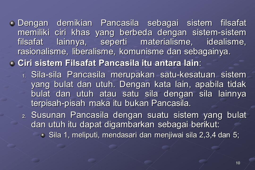 10 Dengan demikian Pancasila sebagai sistem filsafat memiliki ciri khas yang berbeda dengan sistem-sistem filsafat lainnya, seperti materialisme, idea
