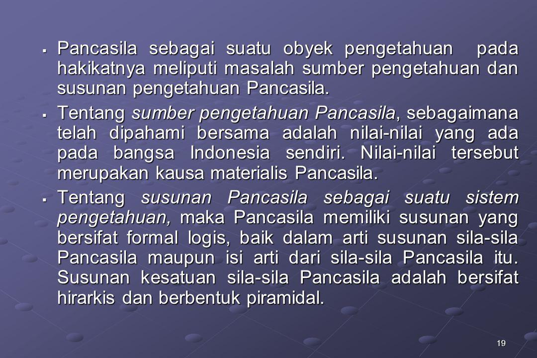 19  Pancasila sebagai suatu obyek pengetahuan pada hakikatnya meliputi masalah sumber pengetahuan dan susunan pengetahuan Pancasila.  Tentang sumber
