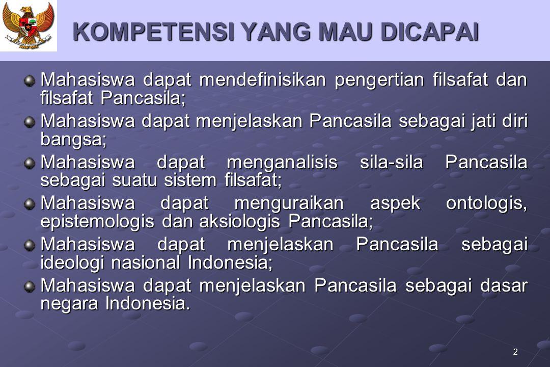 2 KOMPETENSI YANG MAU DICAPAI Mahasiswa dapat mendefinisikan pengertian filsafat dan filsafat Pancasila; Mahasiswa dapat menjelaskan Pancasila sebagai