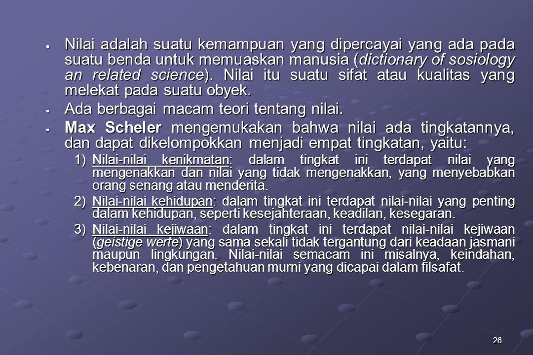 26  Nilai adalah suatu kemampuan yang dipercayai yang ada pada suatu benda untuk memuaskan manusia (dictionary of sosiology an related science). Nila