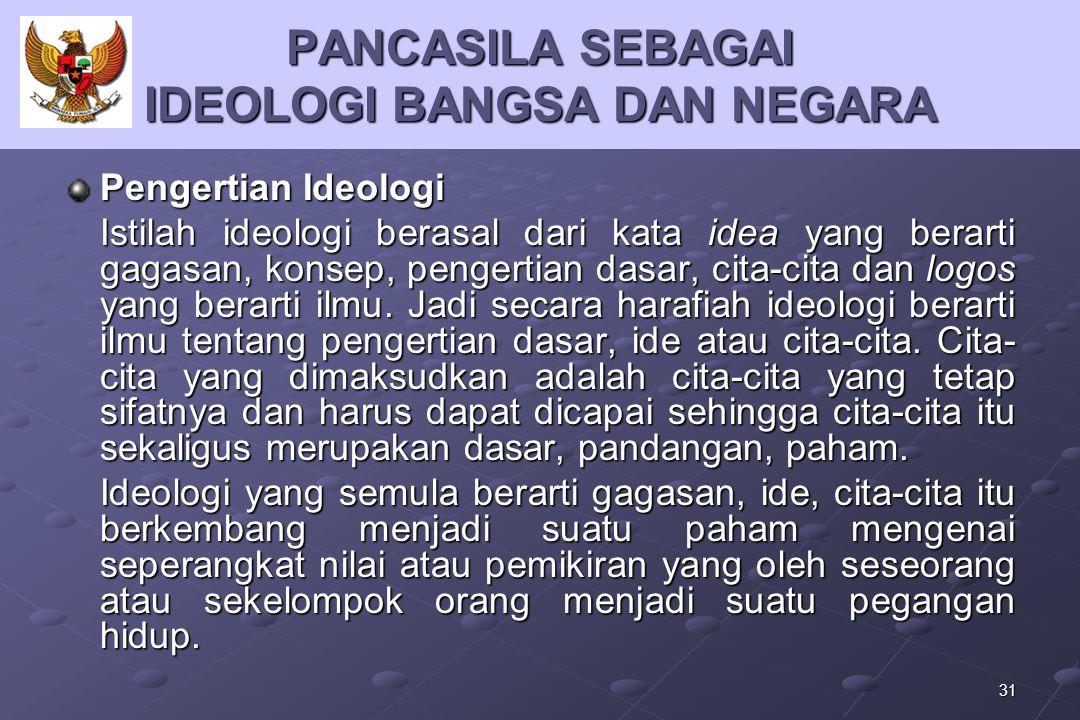 31 PANCASILA SEBAGAI IDEOLOGI BANGSA DAN NEGARA Pengertian Ideologi Istilah ideologi berasal dari kata idea yang berarti gagasan, konsep, pengertian d