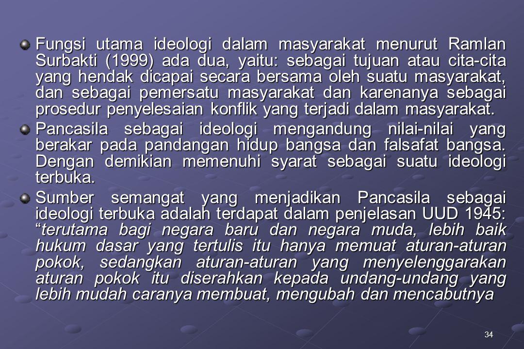 34 Fungsi utama ideologi dalam masyarakat menurut Ramlan Surbakti (1999) ada dua, yaitu: sebagai tujuan atau cita-cita yang hendak dicapai secara bers