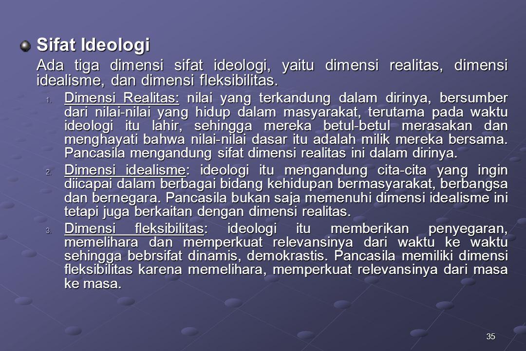 35 Sifat Ideologi Ada tiga dimensi sifat ideologi, yaitu dimensi realitas, dimensi idealisme, dan dimensi fleksibilitas. 1. Dimensi Realitas: nilai ya