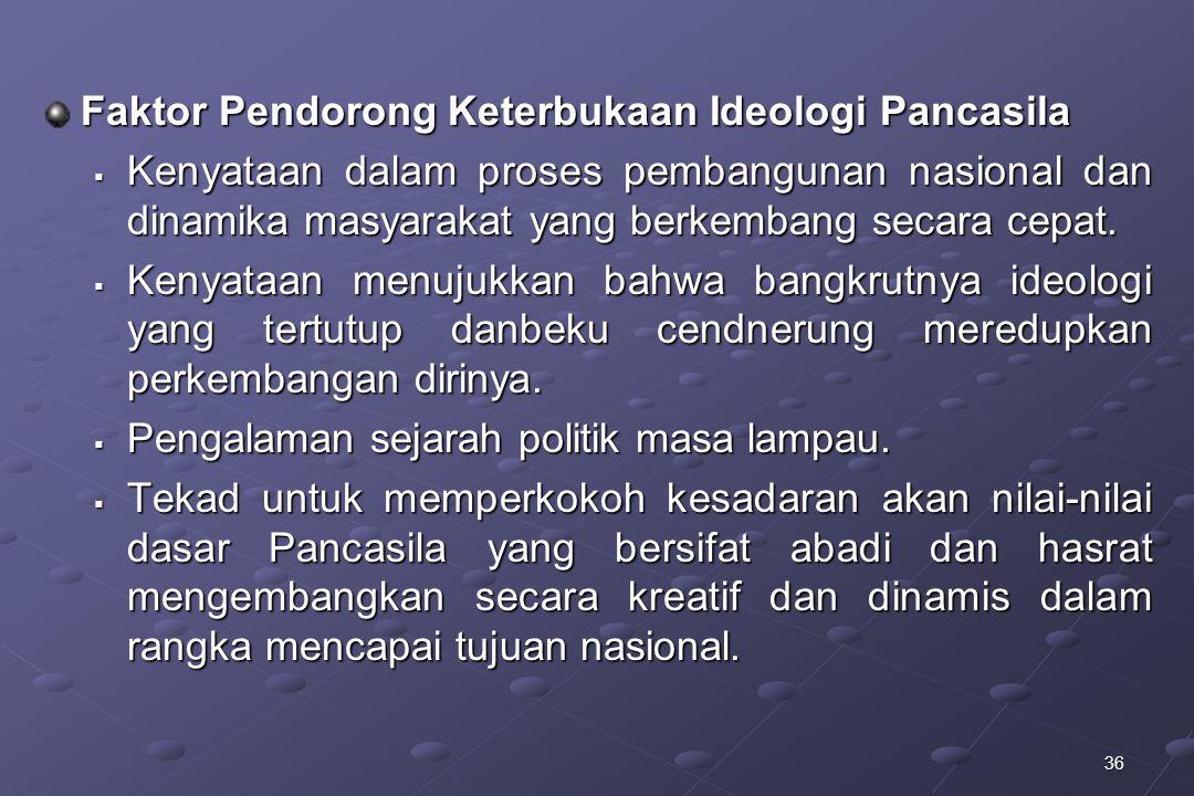36 Faktor Pendorong Keterbukaan Ideologi Pancasila  Kenyataan dalam proses pembangunan nasional dan dinamika masyarakat yang berkembang secara cepat.
