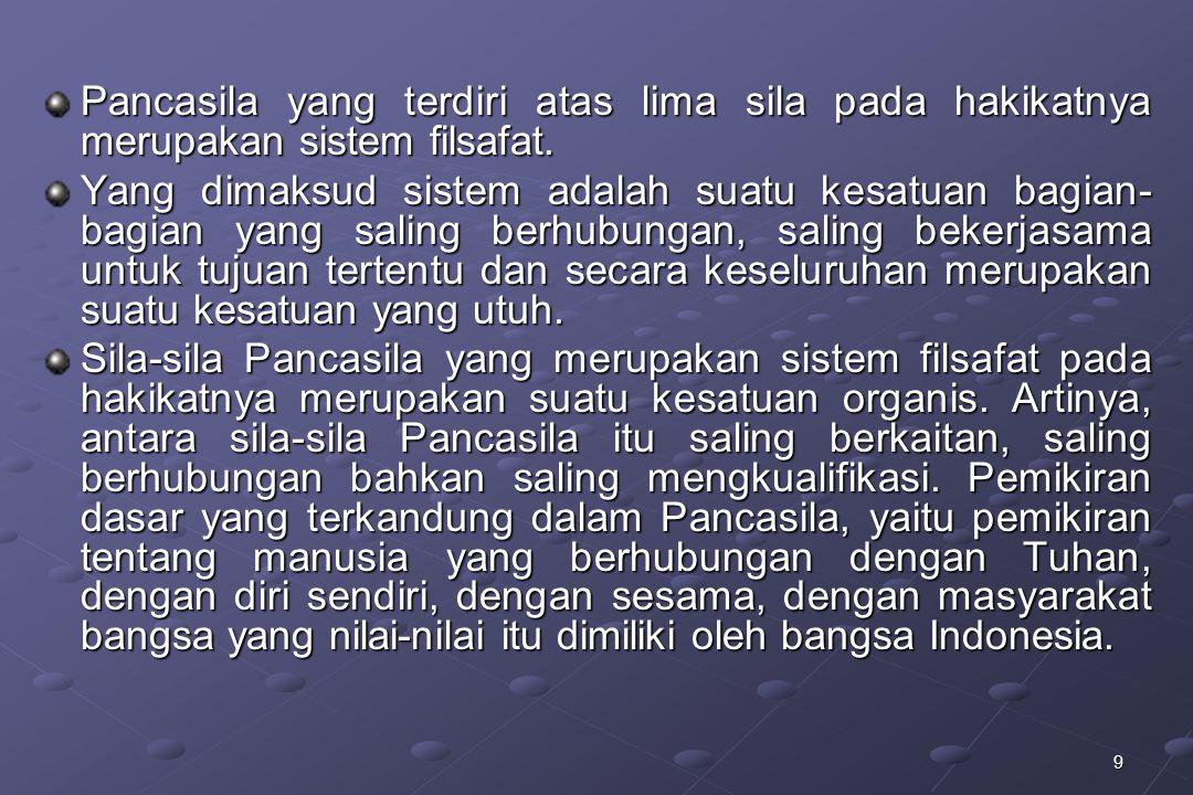 30  Secara aksiologis, bangsa Indonesia merupakan pendukung nilai-nilai Pancasila (subscriber of value Pancasila), yaitu bangsa yang berketuhanan, yang berkemanusiaan, yang berpersatuan, yang berkerakyatan dan berkeadilan sosial.
