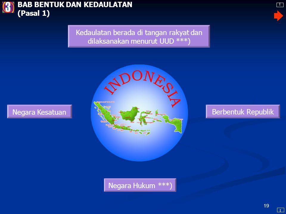 18 UNDANG-UNDANG DASAR NEGARA REPUBLIK INDONESIA TAHUN 1945 PEMBUKAAN (Preambule) Bahwa sesungguhnya Kemerdekaan itu ialah hak segala bangsa dan oleh sebab itu, maka penjajahan di atas dunia harus dihapuskan, karena tidak sesuai dengan peri- kemanusiaan dan peri-keadilan.