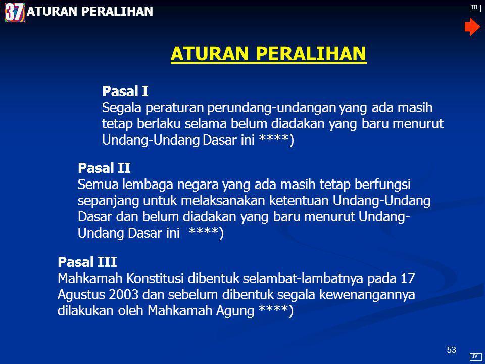 52 MPR berwenang mengubah dan menetapkan [Pasal 3 (1)***] Pasal-pasal Perubahan UUD Usul perubahan pasal-pasal UUD dapat diagendakan dalam sidang MPR apabila diajukan oleh sekurang-kurangnya 1/3 dari jumlah anggota MPR [Pasal 37 (1)****] Setiap usul perubahan pasal-pasal UUD diajukan secara tertulis dan ditunjukkan dengan jelas bagian yang diusulkan untuk diubah beserta alasannya [Pasal 37 (2)****] Untuk mengubah pasal-pasal UUD, sidang MPR dihadiri oleh sekurang-kurangnya 2/3 dari jumlah anggota MPR [Pasal 37 (3)****] Putusan untuk mengubah pasal-pasal UUD dilakukan dengan persetujuan sekurang- kurangnya 50% + 1 anggota dari seluruh anggota MPR [Pasal 37 (4)****] Khusus mengenai bentuk NKRI tidak dapat dilakukan perubahan [Pasal 37 (5)****] BAB PERUBAHAN UNDANG-UNDANG DASAR III IV 36